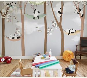 Bacaz Große süße Panda Bäume 3D Cartoon Wandbilder Wallpaper für Baby Kinderzimmer 3d Fototapete Tapeten Aufkleber