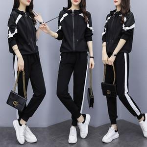 5XL Plus Size Frauen-Sport-Klage beiläufigen Satz lose Hoodie-Jacke Sweatshirt + sweatpant Jogger Laufen Übung Outfit Set Sport