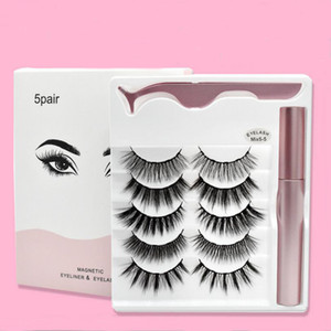 NEW Magnetic Liquid Eyeliner Magnetic False Eyelashes & Tweezer Set 5 Magnet False Eyelashes Set Glue Make Up Tools 4 Pairs eyelash 3in1 set