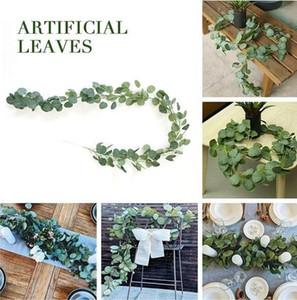 Ideas de la boda Centros de mesa frescas del dólar de plata de eucalipto puntillas ramo de novia 2m falsa artificial de eucalipto Garland seda largo de eucalipto