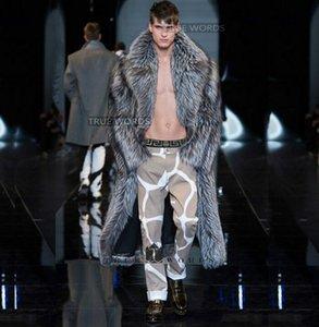 invierno espesar plata caliente de imitación de piel de zorro de visón abrigos de cuero para hombre abrigo hombres abrigos jaqueta de couro más el tamaño del foso largo del diseño