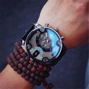 Grande Taille Cadran Noir En Cuir Quartz Hommes Montres Bleu En Verre De Mode Montre Sport Militaire Montre-Bracelet Relojio Meilleur Cadeau De Noël Horloge De Luxe