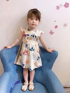 Дизайнер Luxury G G девушки платья Детские милые платья Элегантные платья с коротким рукавом Юбка Лодка шеи Baby Girl одежда