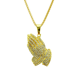 Hip-hop Prayer Hand Necklace European and American Fashion Full Diamond Bergamot Necklace