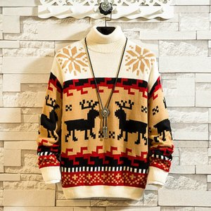 Men's New Winter Christmas Casual Long Sleeve Knitting Sweaters Tops Blouse Sweater Men Pull Homme Hiver Sueter Hombre Man Warm