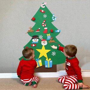 Feutre d'arbre de Noël bricolage Felt Creative Fournitures de Noël Pendentif Enfants Puzzle faits à la main Jouets Fête de Noël Décorations RRA2502