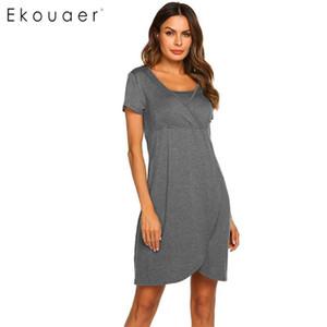 Ekouaer Mulheres Pijamas Night Dress Maternidade Enfermagem Nightgown grávida Amamentação Nightdress O pescoço solto vestido Pijamas