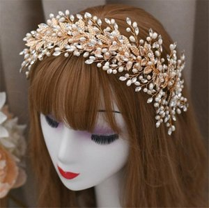 Mariage nuptiale feuille Bandeau Hairband cristal strass Coiffe PERLES Couronne Tiara coréenne Coiffe luxe Prom Couvre-chef d'or