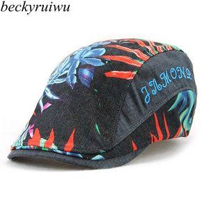 Amantes Moda Headwear Adulto Verão Chapéu de Sol Masculino Folha Impressão Peaked Cap Homens Mulheres Hiphop Punk Rock Beret Caps