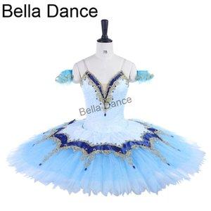 Stage Wear Professional Ballet Dress Blue Gold,Women Nutcracker Pancake Tutu Performance Tutu,Adult Classical CostumeBT9255