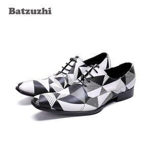 Batzuzhi Marque Hommes Chaussures À Lacets En Cuir Véritable Chaussures Habillées Pour Hommes Noir Blanc Chaussures de Sport Hommes Mariage Et Fête Zapatos
