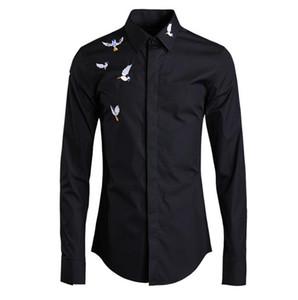 Chemise à manches Imprimer brodé style chinois solide Couleur Homme Mode Shirt Mens Designer longue