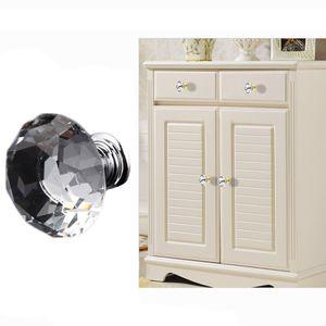 Manopole del cassetto Maniglie del Governo della mobilia della cucina Manopole delicate di cristallo di vetro dell'armadietto dell'armadio 30mm Maniglie di progettazione di forma del diamante BH0921 TQQ
