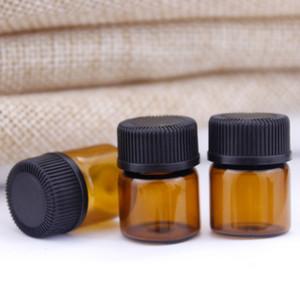 Plug ve kapak JXW543 ile 1 ml 2ml Amber Cam Essential Oil Şişe parfüm numune tüpleri Şişe