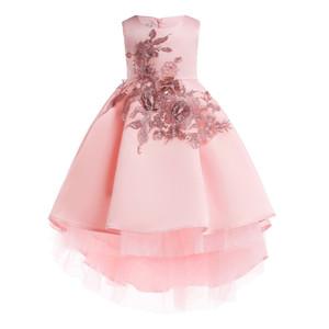 2019 nueva princesa vestido bordado barato moda infantil cordón de la boda de los niños del vestido del vestido del desgaste del partido del smoking