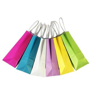 DIY Multifunction soft color paper bag with handles  21x15x8cm  Festival gift bag  High Quality shopping bags kraft paper