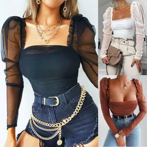 Femmes sexy solides Chemisier maille à manches bouffantes froncées Mode Chemises à manches longues col carré Skinny Chemises Ladies talonnement Chemises