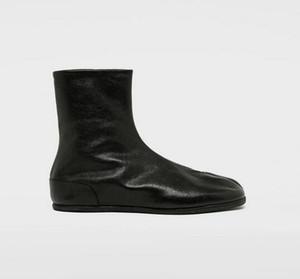 Hot-vente de qualité parfaite Tabi Bottines plates Bottes classique de Split Tabi Toe plat Soles Noir Paris Brand New Shoes Mode