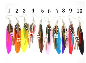 New Women Feather Earrings Colorful Pierced Dangle Bead Earring Fashion Ladies Girls Good Jewelry Bohemia Style-P