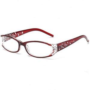 Женские Reading Glasses Элегантные Красный Anti-излучения пояс Drilling телескоп R240