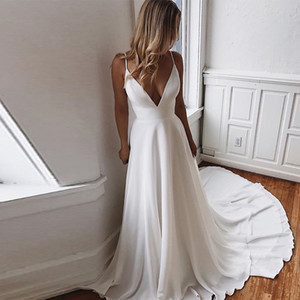 Simple White Ivory Wedding Dresses Sexy Deep V-neck Lace Back Plus Size Backless Bridal Gowns Spaghetti Straps Wedding Dress