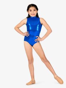 Chicas Mock Neck Metallic Tank Leotard Open Back Stage Performer Tops brillantes Niños Ballet Dancewear Leotardos