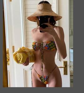 2020 Sexy Breakian Bikini Swimwears Designer Femmes Halter Push Up Bikini Ensemble Maillot de bain Femme Floral Imprimer Bandage Biquini Pays de bain KJ01