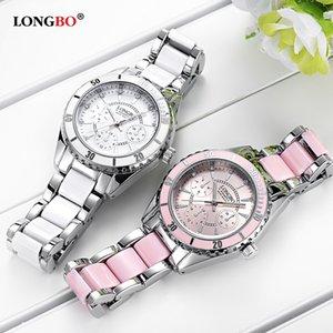 Longbo Самые последние Лучшие моды дамы сетки пояса Часы Wild Lady Креативный вахтой подарка Женские Часы серебряные женские часы