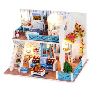 CUTEBEE DIY Dollhouse Wooden doll Houses Miniature Doll House Furniture Kit Casa Music Led Toys for Children Birthday Gift A68D MX200414