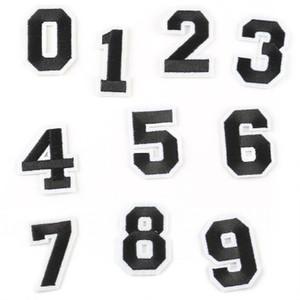 Pegatinas de tela de bordado de computadora al por mayor 0-9 número de marca de ropa de bola digital número de accesorios de ropa estándar parche de bordado 100