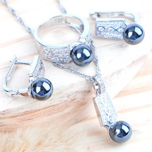 Mesdames mariage Black Pearl Bijoux de mariée zircons 925 collier en argent sterling Bagues Boucles d'oreilles Pendentif Ensembles pour les femmes