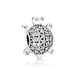 Fit Pandora Charm Bracelet Очаровательны черепахи европейские серебряные подвески Sealife Crystal Bears DIY змеиная цепь для женщин браслет ожерелье ювелирные изделия