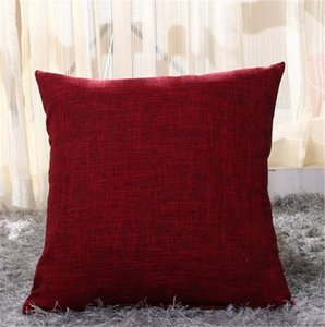New 100pcs lot plain colorful cotton linen Pillow Cases blend blank cushion cover pillow case candy color thick pillow cover 45*45cm
