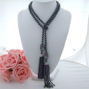 AB100701 45mm Hematite Necklace 전복 껍질 펜던트