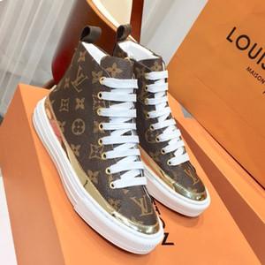 Box 35-41 Sıcak Kadın Sneakers Ayakkabı Stellar Trainer Boot Tuval Altın ve Siyah Kauçuk Sole Kadınlar Tasarımcı Stellar Sneakers Boot Flats
