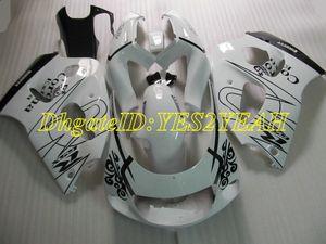 SUZUKI GSXR 용 오토바이 페어링 키트 600 750 1996 2000 GSX-R 600 750 GSXR600 GSXRR750 96 98 99 00 화이트 블랙 Faiirngs 세트 + 선물