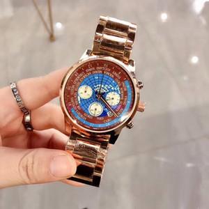 Yeni stil Yüksek kaliteli erkek Tüm alt kadranları mens en iyi hediye için tam Paslanmaz Çelik bant kronometre kuvars saatler çalışmak Üst erkek saati izlemek