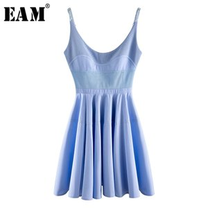 [EAM] Women Blue Pleated Split Joint Spaghetti Strap Dress New V-collar Sleeveless Loose Fit Fashion Spring Summer 2020 WM1900