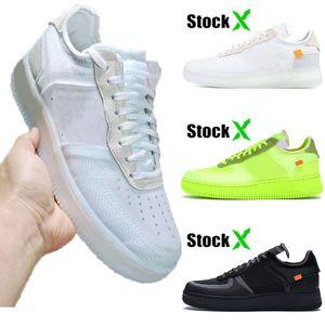 off white air force 1 af 1 One Высокое качество с коробкой бирки шнурков замочить белый зеленый черный 1 женщины мужских дизайнер обуви скейтборда повседневных обувь