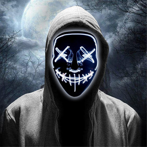 Le maschere spaventoso Halloween LED Glow Spaventoso Mask Light Up Cosplay Rave per il festival del partito feste in costume luce fredda JK1909