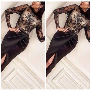 Cuello alto de encaje negro de manga larga con vaina superior Vestidos de baile Sexy Split Front Custom 2020 Mujeres Vestidos de noche Oriente Medio Vestidos De Soiree