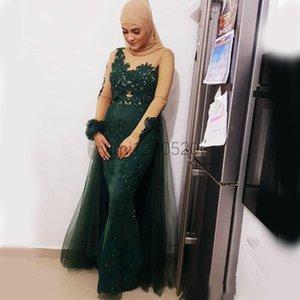 Hunter Verde musulmani Mermaid Abiti da sera con maniche su gonna Jewel lungo sweep treno Applique Beads lungo del partito di promenade abiti convenzionali