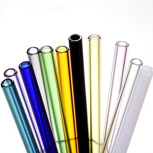 20 cm Colored Borosilicate Cocktail Glass Straws Length 20cm Strait 8mm Drinking Straw For Party