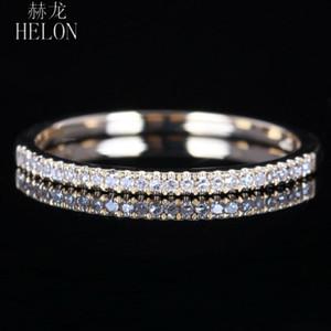Helon Solid 10k Oro Amarillo Pavimenta el Diamante Natural Media Eternidad Anillo Compromiso Wedding Band Party Joyería Fina Mujeres Anillo de Moda Y19052301