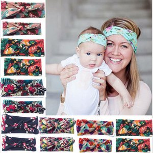 Bébé fille parent-enfant Impression florale Turban Twist Bandeau tête Wrap Noeud Twisted doux bande de cheveux Bandeaux Headwrap 6style RRA2220