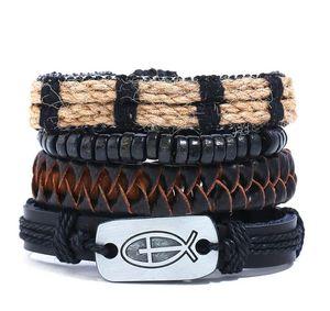 2020 Hot sale 100% genuine leather bracelet DIY Hemp rope cross wax rope Beading Men's Combination suit Bracelet 4styles 1set