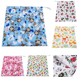 1Pcs Waterproof Wet Cloth Diaper Backpack Reusable Diaper Cover Wet Bag Baby Bags Printed Double Zippered Wet Dry Bag