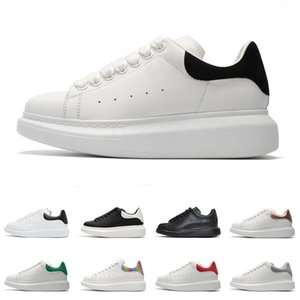 Alexander McQueen Designer Casual Chaussures en daim blanc en cuir noir réfléchissant baskets planche à roulettes confortable appartement rouge vert or 3M taille 36-44