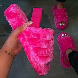 MCCKLE Kadınlar Peluş Terlik 2020 Yaz Düz Tabanlı Açık Sandalet Açık Burun Rahat Slaytlar Casual Kadın Kapalı ayakkabı Yeni Y200423
