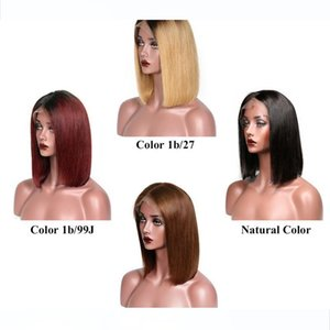 Ombre Human Hair Lace Wigs Short Bob Style 10 Inch Brazilian Straight Hair wigs Cheap Human Hair Wigs